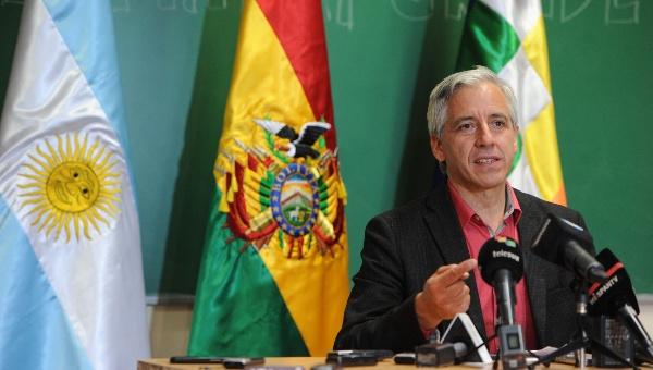El vicepresidente boliviano, Álvaro García Linera, durante la disertación en la Facultad de Ciencias Sociales de la UBA, donde habló de la restauración conservadora en América Latina. | Foto: Télam