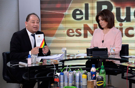 """El ministro de Gobierno, Carlos Romero, en el programa """"El pueblo es noticia"""", Foto: ABI"""