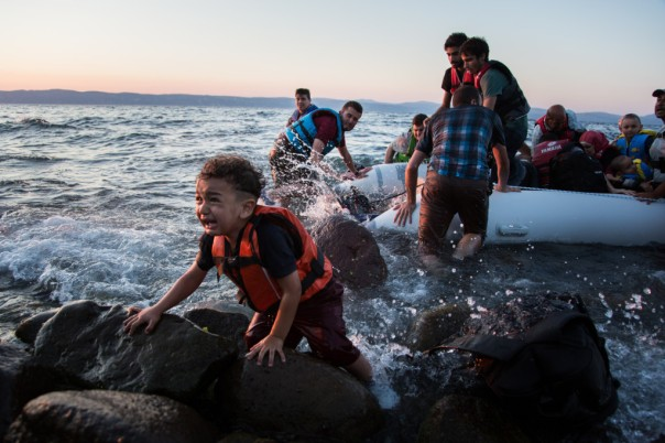 Greece. Syrian refugees arrive on Lesvos