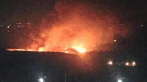 magen que capta la explosión en el aeropuerto militar de Mezzeh, en Damasco, la capital de Siria, 7 de diciembre de 2016.