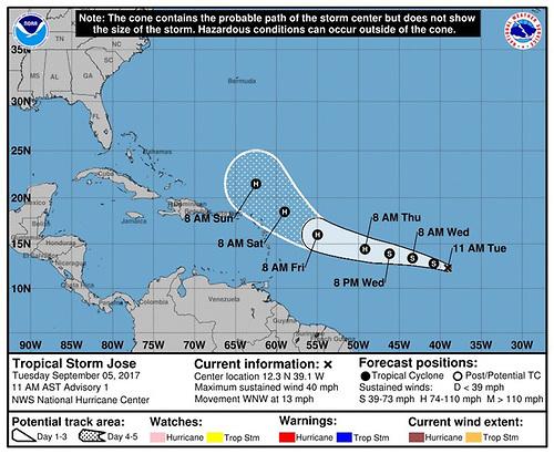 Se forma la tormenta tropical José, que amenaza con seguir la estela de Irma